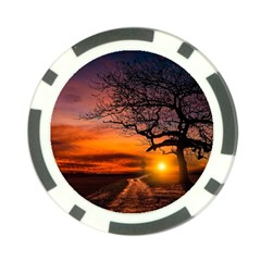 Lonely Tree Sunset Wallpaper Poker Chip Card Guard (10 Pack)