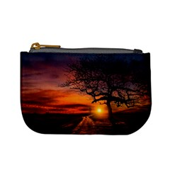 Lonely Tree Sunset Wallpaper Mini Coin Purse