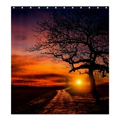 Lonely Tree Sunset Wallpaper Shower Curtain 66  x 72  (Large)