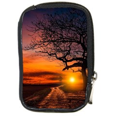 Lonely Tree Sunset Wallpaper Compact Camera Leather Case