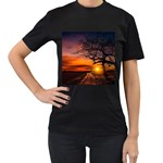 Lonely Tree Sunset Wallpaper Women s T-Shirt (Black) Front