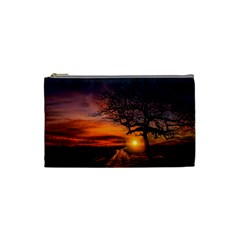Lonely Tree Sunset Wallpaper Cosmetic Bag (small) by Alisyart