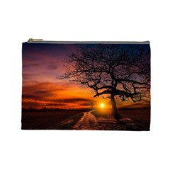 Lonely Tree Sunset Wallpaper Cosmetic Bag (Large)