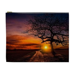 Lonely Tree Sunset Wallpaper Cosmetic Bag (XL)