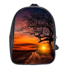 Lonely Tree Sunset Wallpaper School Bag (large) by Alisyart