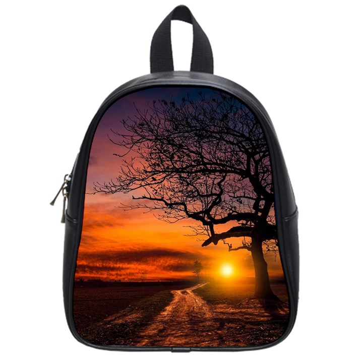 Lonely Tree Sunset Wallpaper School Bag (Small)