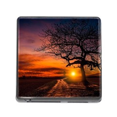 Lonely Tree Sunset Wallpaper Memory Card Reader (Square 5 Slot)