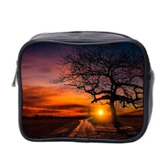 Lonely Tree Sunset Wallpaper Mini Toiletries Bag (Two Sides)