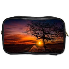 Lonely Tree Sunset Wallpaper Toiletries Bag (two Sides)