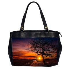 Lonely Tree Sunset Wallpaper Oversize Office Handbag (2 Sides)