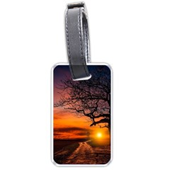 Lonely Tree Sunset Wallpaper Luggage Tags (one Side)