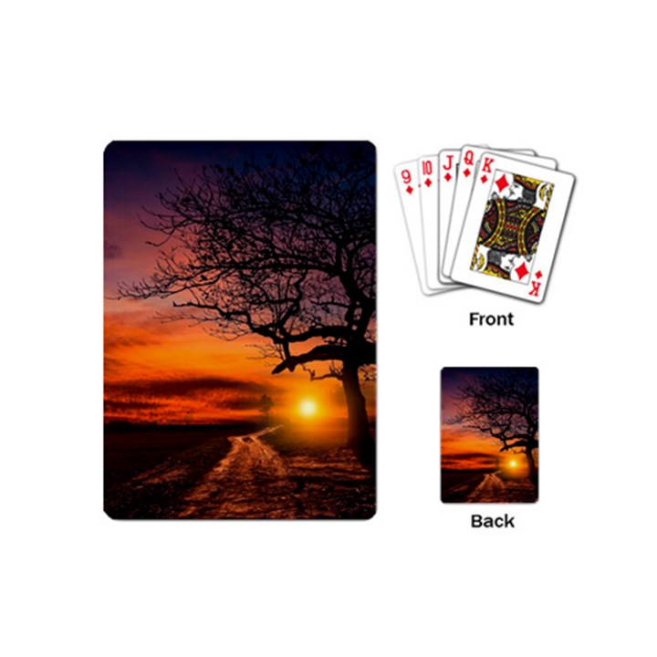 Lonely Tree Sunset Wallpaper Playing Cards (Mini)