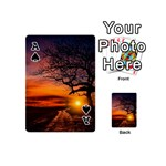 Lonely Tree Sunset Wallpaper Playing Cards 54 (Mini) Front - SpadeA