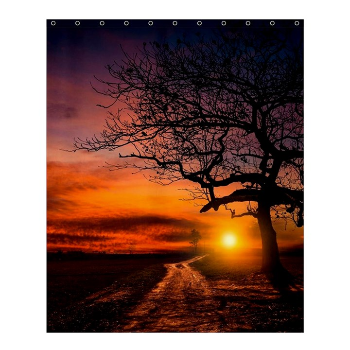 Lonely Tree Sunset Wallpaper Shower Curtain 60  x 72  (Medium)