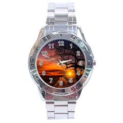 Lonely Tree Sunset Wallpaper Stainless Steel Analogue Watch