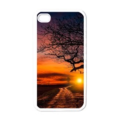 Lonely Tree Sunset Wallpaper Apple iPhone 4 Case (White)