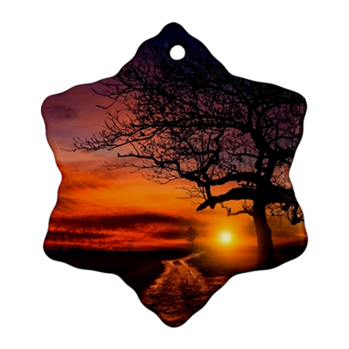 Lonely Tree Sunset Wallpaper Snowflake Ornament (Two Sides)