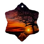 Lonely Tree Sunset Wallpaper Snowflake Ornament (Two Sides) Back