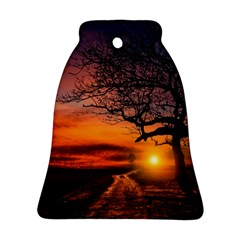 Lonely Tree Sunset Wallpaper Bell Ornament (Two Sides)