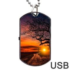 Lonely Tree Sunset Wallpaper Dog Tag USB Flash (One Side)