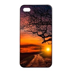 Lonely Tree Sunset Wallpaper Apple iPhone 4/4s Seamless Case (Black)