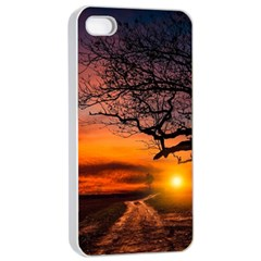 Lonely Tree Sunset Wallpaper Apple iPhone 4/4s Seamless Case (White)