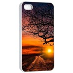 Lonely Tree Sunset Wallpaper Apple iPhone 4/4s Seamless Case (White) Front
