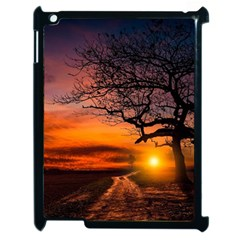 Lonely Tree Sunset Wallpaper Apple Ipad 2 Case (black)