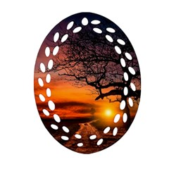 Lonely Tree Sunset Wallpaper Oval Filigree Ornament (Two Sides)