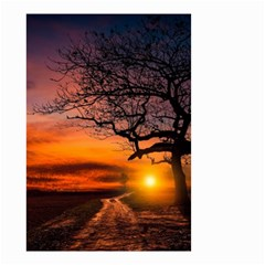 Lonely Tree Sunset Wallpaper Small Garden Flag (Two Sides)