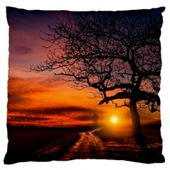 Lonely Tree Sunset Wallpaper Large Cushion Case (Two Sides)