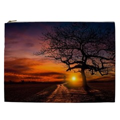 Lonely Tree Sunset Wallpaper Cosmetic Bag (XXL)