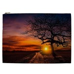 Lonely Tree Sunset Wallpaper Cosmetic Bag (XXL) Front