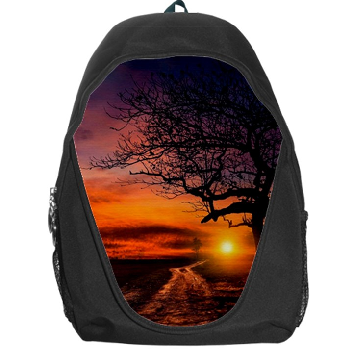 Lonely Tree Sunset Wallpaper Backpack Bag
