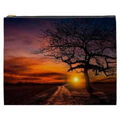 Lonely Tree Sunset Wallpaper Cosmetic Bag (xxxl)