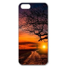 Lonely Tree Sunset Wallpaper Apple Seamless Iphone 5 Case (clear)