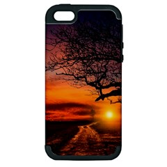 Lonely Tree Sunset Wallpaper Apple Iphone 5 Hardshell Case (pc+silicone)