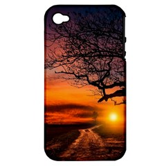 Lonely Tree Sunset Wallpaper Apple iPhone 4/4S Hardshell Case (PC+Silicone)