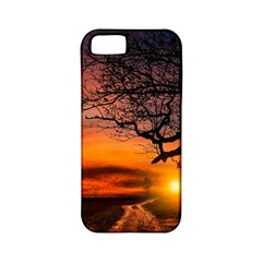 Lonely Tree Sunset Wallpaper Apple iPhone 5 Classic Hardshell Case (PC+Silicone)