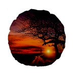 Lonely Tree Sunset Wallpaper Standard 15  Premium Round Cushions Front