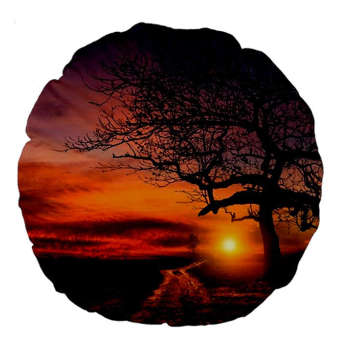 Lonely Tree Sunset Wallpaper Large 18  Premium Round Cushions