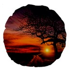 Lonely Tree Sunset Wallpaper Large 18  Premium Round Cushions Back