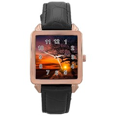 Lonely Tree Sunset Wallpaper Rose Gold Leather Watch