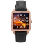 Lonely Tree Sunset Wallpaper Rose Gold Leather Watch  Front