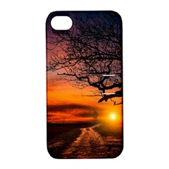 Lonely Tree Sunset Wallpaper Apple iPhone 4/4S Hardshell Case with Stand
