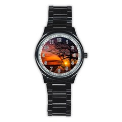 Lonely Tree Sunset Wallpaper Stainless Steel Round Watch