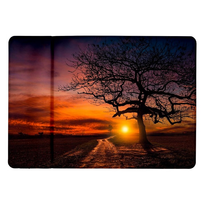 Lonely Tree Sunset Wallpaper Samsung Galaxy Tab 10.1  P7500 Flip Case