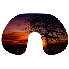 Lonely Tree Sunset Wallpaper Travel Neck Pillows