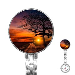 Lonely Tree Sunset Wallpaper Stainless Steel Nurses Watch