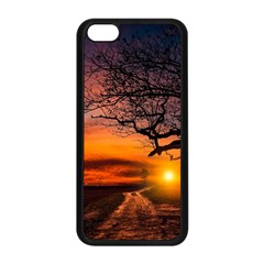 Lonely Tree Sunset Wallpaper Apple Iphone 5c Seamless Case (black)